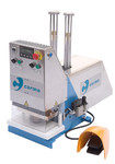 Automatic double sided welding machine for HF welding of plastic eyelets