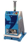 Automatic single sided welding machine for HF welding of plastic eyelets