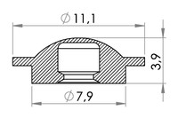 Small technical drawing of 02-224 PVC Snapfastener, female (low closing strength)
