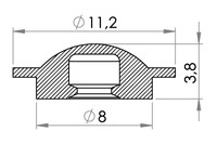 Small technical drawing of 02-324 PVC Druckknöpfe, Oberteil (medium Schließkraft)