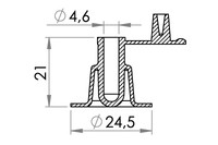 Small technical drawing of 03-163 Plastic valve for inflatables, nonreturn, fixed plug, 5 mm inlet