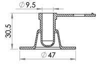 Small technical drawing of 03-165 Valve PVC 9 mm avec anti-retour / sans bouchon