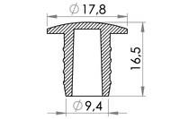 Small technical drawing of 03-213 Kunststoff Stopfen für Aufblasventile, 9 mm