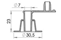 Small technical drawing of 03-307 Inflation valve for inflatables, free flow, fixed plug, 7 mm