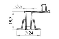 Small technical drawing of 03-325 Plastic inflation valve, nonreturn, fixed plug, 5 mm inlet
