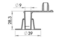 Small technical drawing of 03-329 PVC inflation valve, non-return, fixed, 9 mm inlet