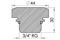 "Small technical drawing of 03-475 bouchon  + joint (filetage 3/4 "")"