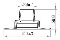 "Small technical drawing of 03-634 Embase PVC filetée 1½"" (36.4 mm)"