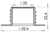 Small technical drawing of 03-730 Threaded Neck Flange, 25 mm