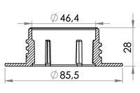 Small technical drawing of 03-745 Threaded Neck Filler Flange, 45 mm