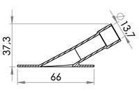 Small technical drawing of 03-803 Valve oblique  PVC/PU Ø 14 mm