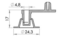 Small technical drawing of 03-955 Low profile Inflation valve, non-return, fixed plug, 5 mm inlet