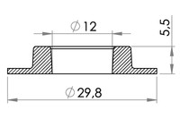 Small technical drawing of 04-101 PVC Rundöse, schwer 11/30 mm