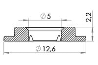 Small technical drawing of 04-111 Kunststoff Rundöse, 5 mm