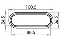 Small technical drawing of 04-141 PVC/PUR Kunststofföse, Oval, 24/88 mm