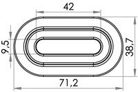 Small technical drawing of 04-204 Oeillet PVC ovale 9/42 mm
