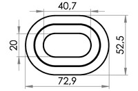 Small technical drawing of 04-403 Oval plastic eyelet,20/40 mm