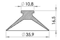 Small technical drawing of 05-132 Kunststoff Saugnapf