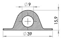 Small technical drawing of 05-146 Passe fil PVC 9/38 mm (rond)