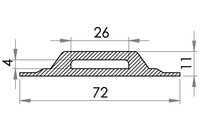 Small technical drawing of 05-441 Plastic Cleat for webbing, 26/4 mm