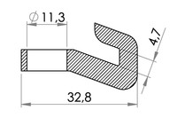Small technical drawing of 05-932 PE Hook For Suction Cup