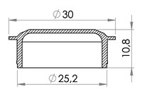 Small technical drawing of 06-216 Cache pour bavette 06-215