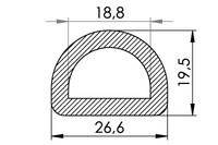 Small technical drawing of 06-831 Nylon D-Ring, 19 mm