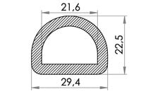 Big drawing of 06-832 Nylon D-Ring, 22 mm