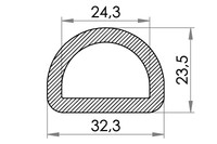 Small technical drawing of 06-833 Nylon D-Ring, 25 mm
