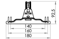 Small technical drawing of 09-115 Urinbeutelhanger mit Stifte, 140/160/180 mm