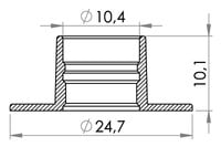 Small technical drawing of 09-119 Medical Tubing Flanges