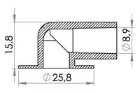 Small technical drawing of 09-211 PVC Winkelanschluß 90°