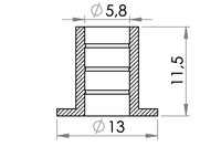 Small technical drawing of 09-219 PVC Plastic Tubing flange, straight