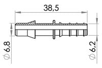 Small technical drawing of 09-726 PELD Tube Adaptor, 6.4 mm