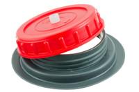 Schweißbarer Schraubflansch + Deckel, 98 mm (Ventiliert). Schweißbarer Schraubflansch und Schraubdeckel mit eingebautem Ventil. 98 mm. Eignet sich für Behälter von 60 bis 1500 Liter.