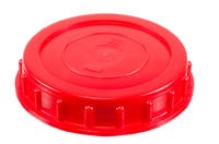 Kunststoff Schraubdeckel mit Dichtung, 98 mm. Zugelassen für Anwendung in Verbindung mit Lebensmittel. Inkl. weiche weiße Gummidichtung.