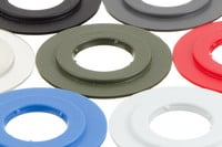 Plastic Eyelet, Heavy, 19/43 mm, Stacked. 19/43 mm heavy duty plastic eyelet with square shoulders. Optimised for HF welding and use in automatic machines.