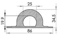 Big drawing of 05-646 Plastic Rounded Staple, 23/25 mm