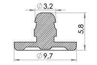 Big drawing of 09-032 POM Security Fastener, male