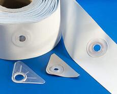 Bordure soudable d'oeillet de PVC, rouleau de 85 mm x de 50m
