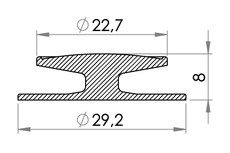 Small technical drawing of 01-055 Bouton PVC 22,7 mm