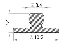 Small technical drawing of 02-024 PVC Snap fastener, male