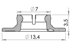 Small technical drawing of 02-431 PA / Nylon Snapfastener, female (heavy closing strength)