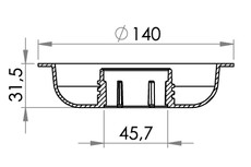 Small technical drawing of 03-045 45mm Recessed threaded filler flange