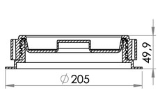 Small technical drawing of 03-130 Bouchon de remplissage fileté et bouchon + joint, alésage Ø146 mm