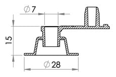 Small technical drawing of 03-207 Low-profile inflation valve for inflatables, free flow, fixed plug, 7 mm