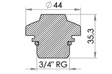 Small technical drawing of 03-284 Nouvelle soupape de vide en plastique ABS avec filetage G3/4
