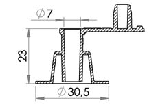 Small technical drawing of 03-307 PVC Aufblasventil, 7mm, Normal mit festen Stöpsel