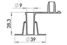 Small technical drawing of 03-309 PVC Inflation valve, Free flow, fixed plug, 9 mm inlet