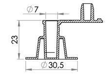 Small technical drawing of 03-327 Valve anti-retour en PVC pour gonflables avec bouchon, 7 mm